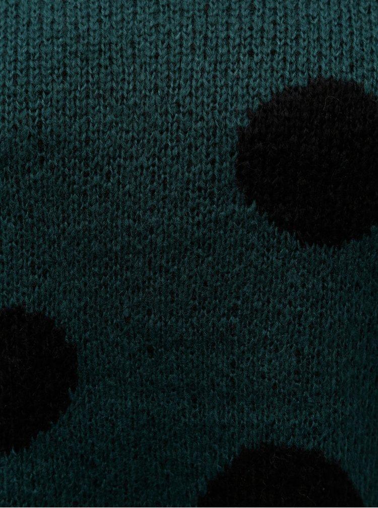 Tmavě zelený puntíkovaný svetr ONLY Tiffany