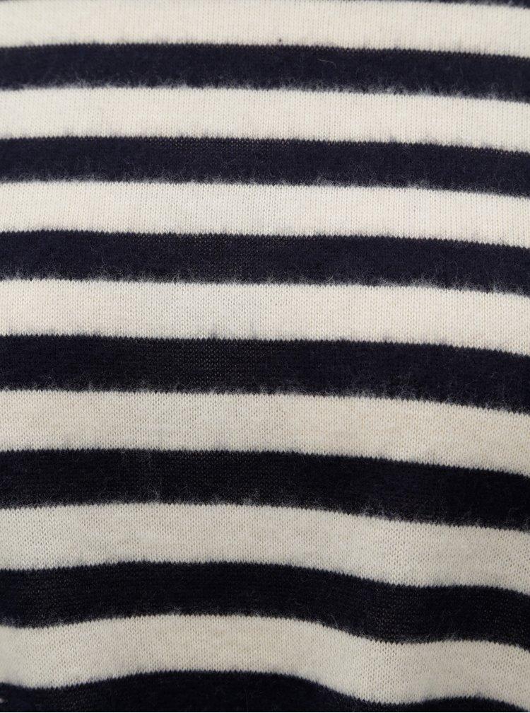 Krémovo–modrý pruhovaný tenký sveter s uzlom ONLY Alma