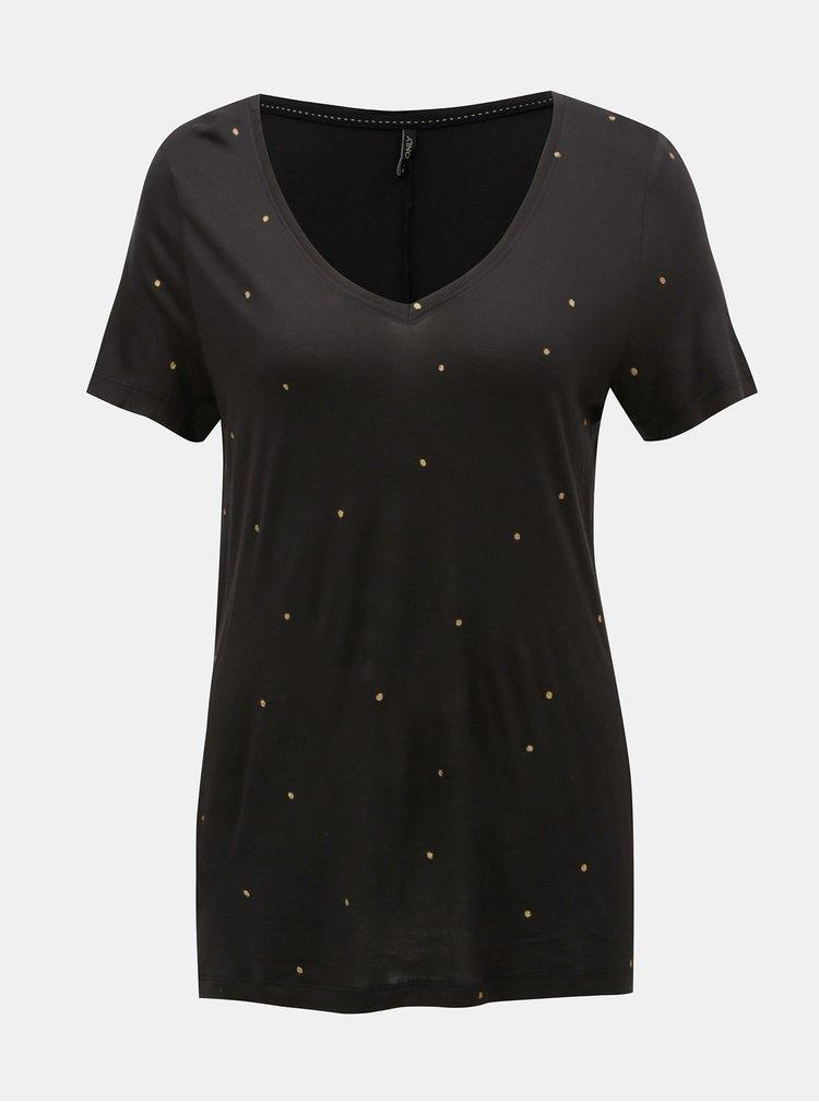 Černé puntíkované volné tričko ONLY Sabel