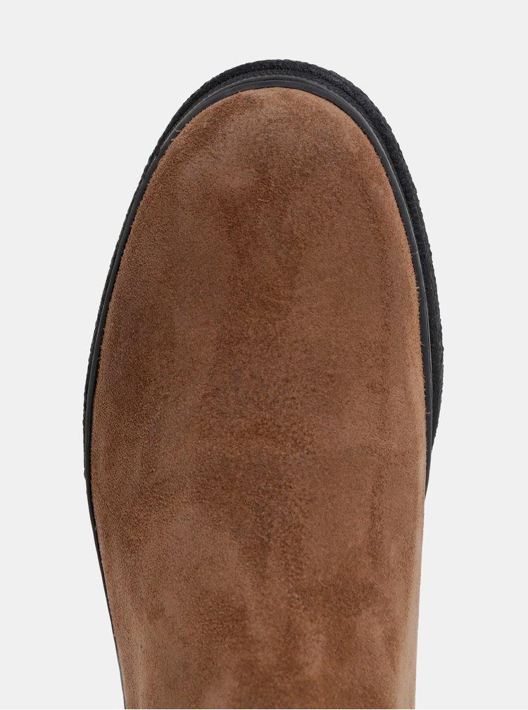 Hnedé pánske semišové zimné chelsea topánky s vlnenou podšívkou GANT Josef