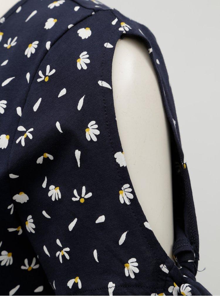 Tmavě modré květované tričko s průstřihy na rukávech ONLY Olivia