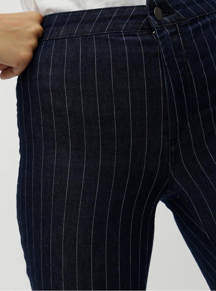 Modré pruhované skinny džíny bez kapes Jacqueline de Yong Finnie