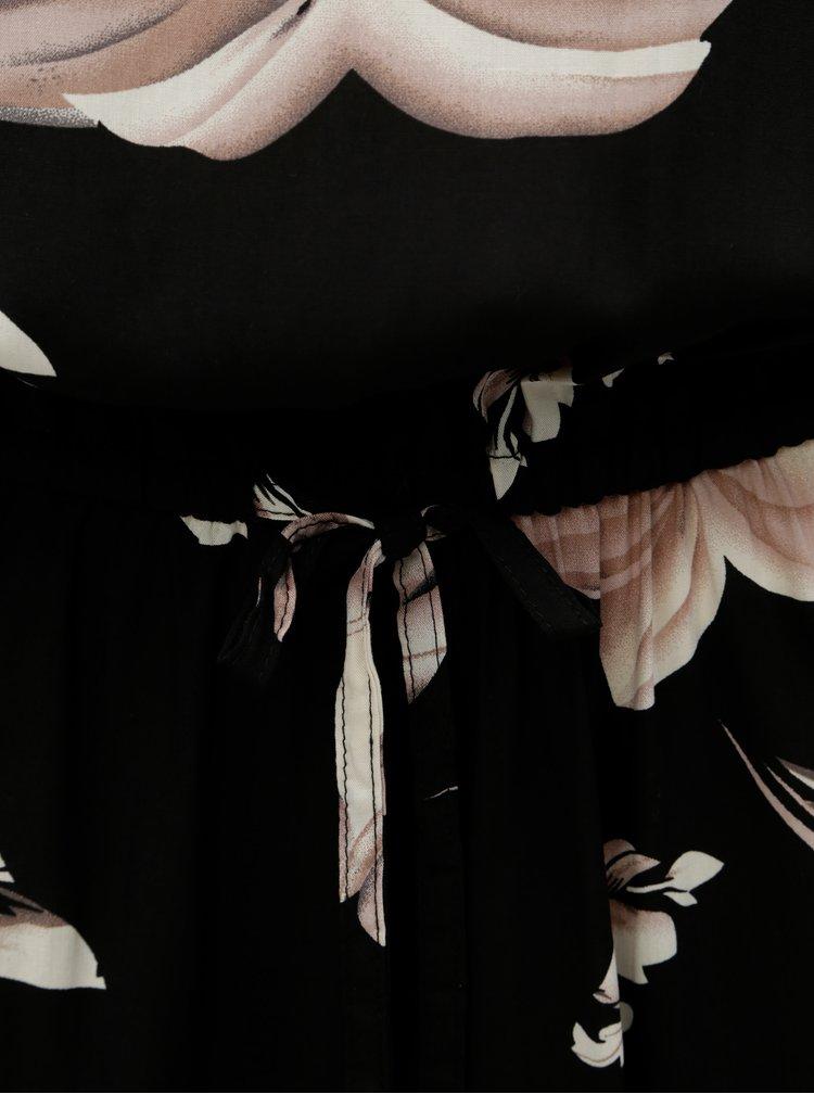 Rochie neagra florala cu maneci lungi ONLY Nova Draw