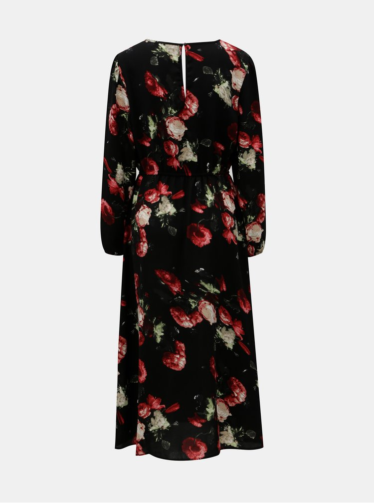 Čierne kvetované midišaty s prestrihmi ONLY Elenor