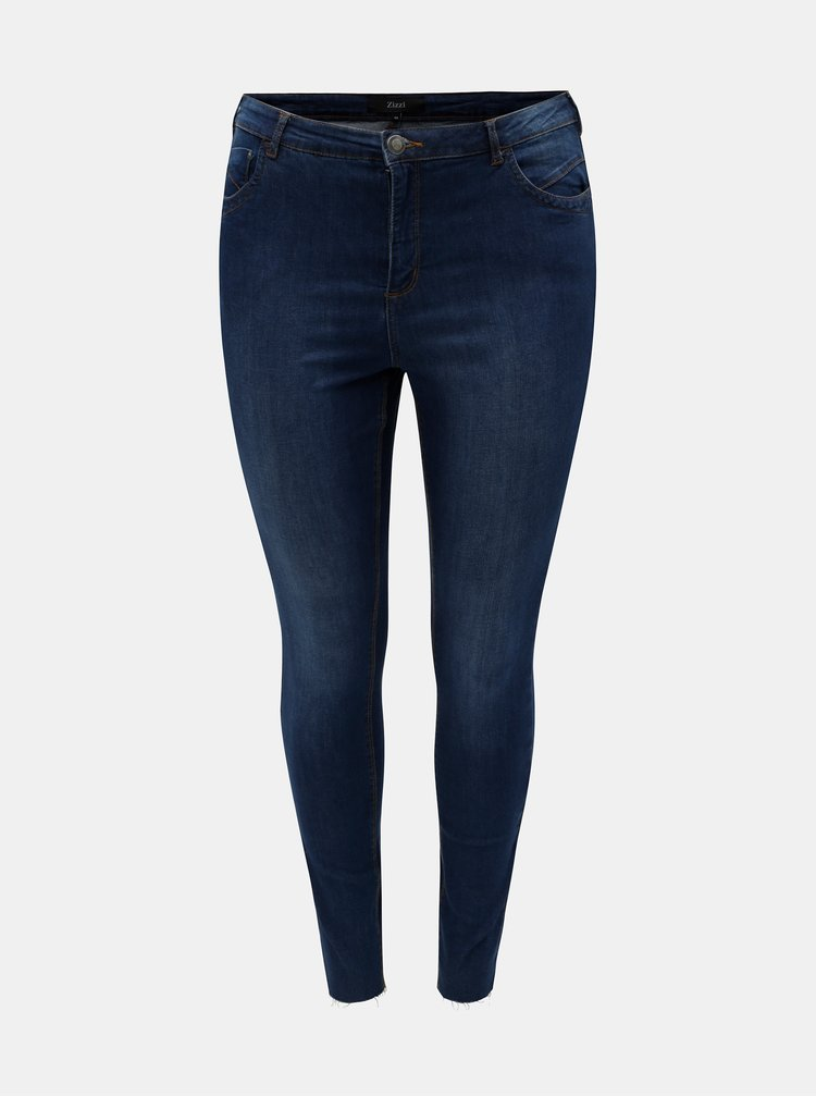 Blugi albastri curvy super slim din denim Zizzi Amy