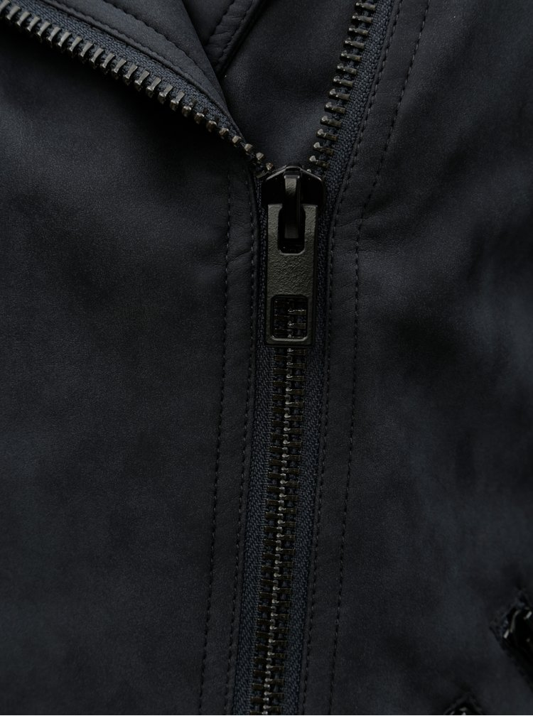 Jacheta biker gri inchis din piele sintetica ONLY Cava