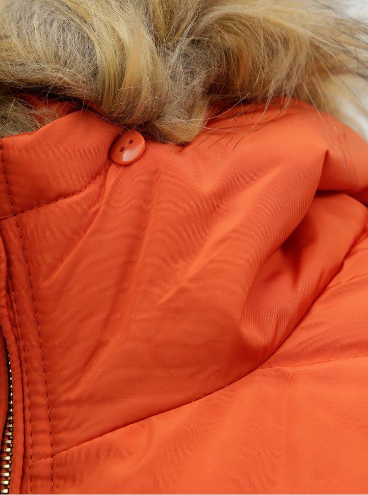 Jacheta oranj matlasata cu blana artificiala detasabila ONLY New Ellan