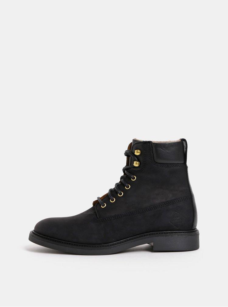 Čierne dámske kožené členkové zimné topánky GANT Ashley