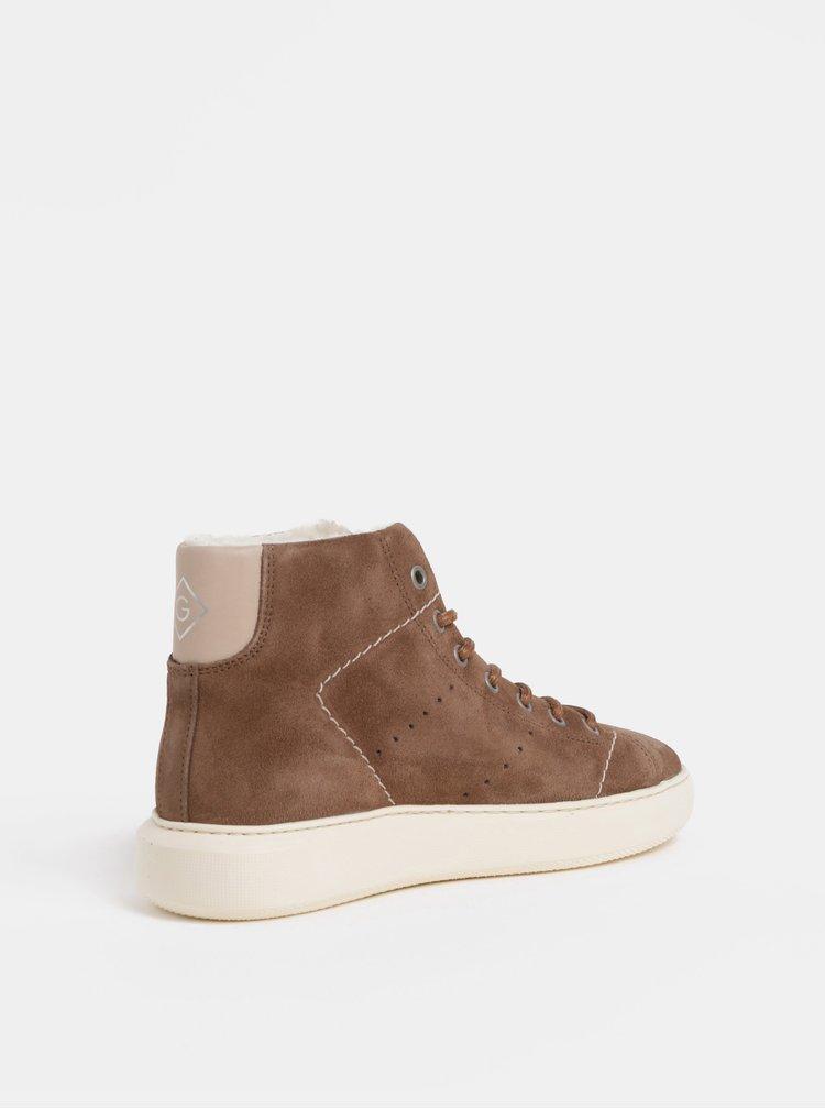 Hnědé dámské semišové kotníkové zimní boty s vlněnou podšívkou GANT Kay