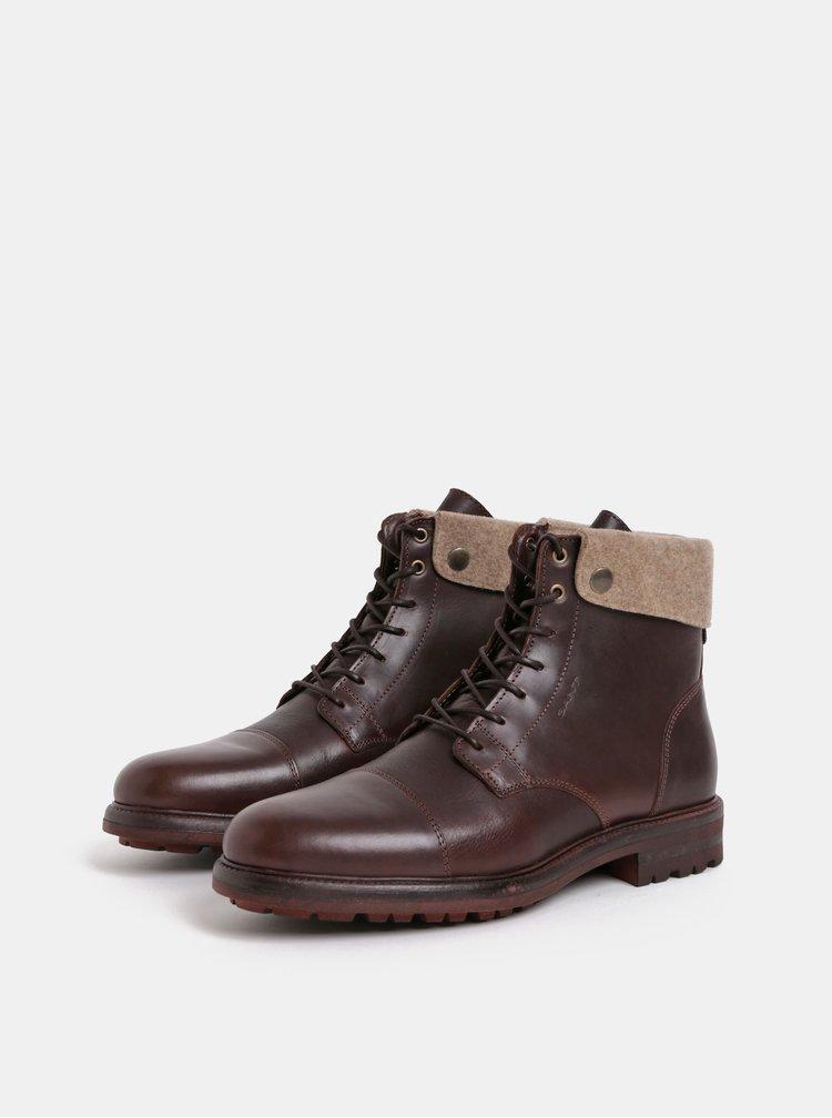 Tmavě hnědé pánské kožené kotníkové zimní boty GANT Nobel