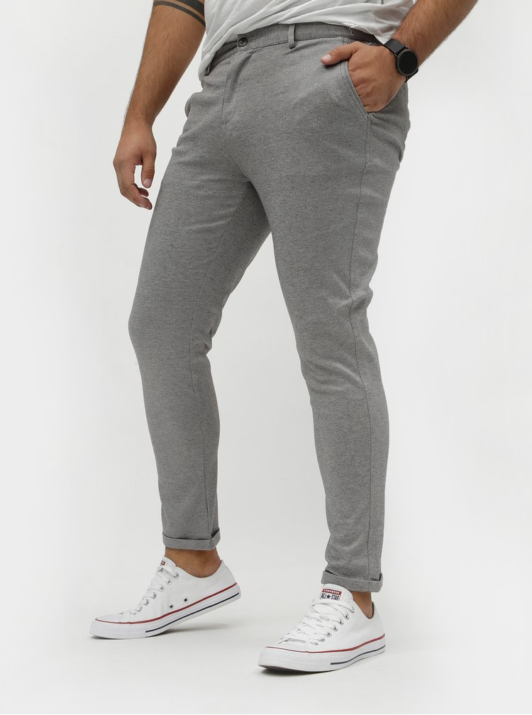 Šedé žíhané chino kalhoty Shine Original