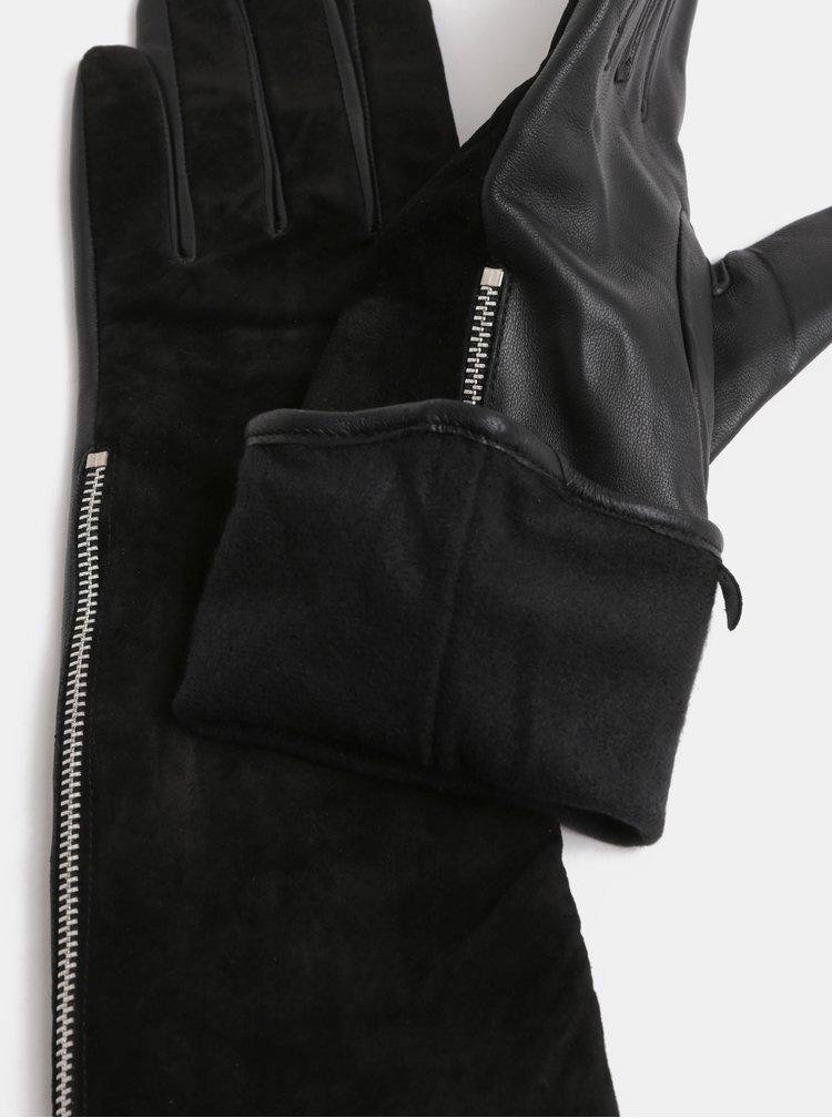 Čierne semišové rukavice Pieces Kip