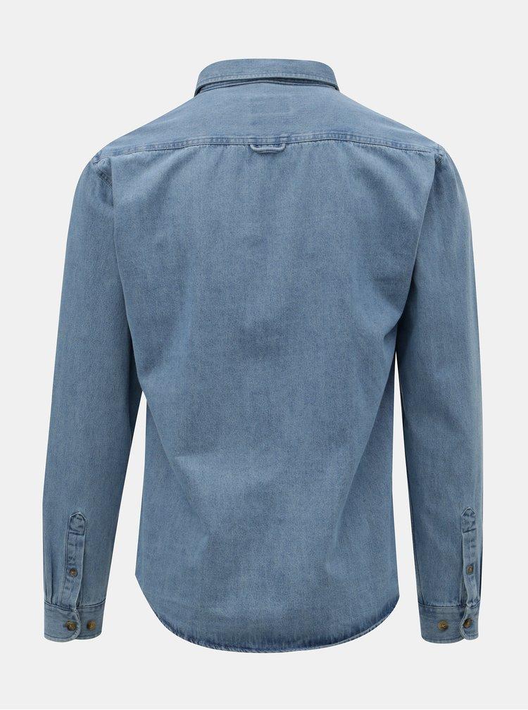 Camasa albastra din denim cu buzunare la piept Shine Original