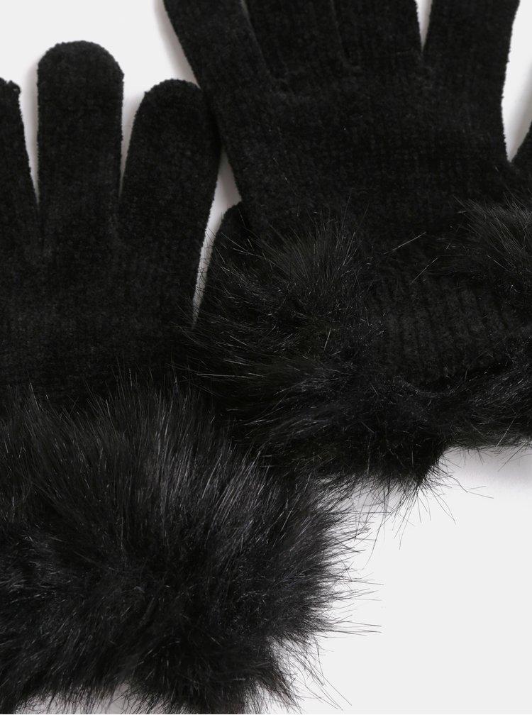 Čierne rukavice s umelou kožušinkou Pieces Kassi