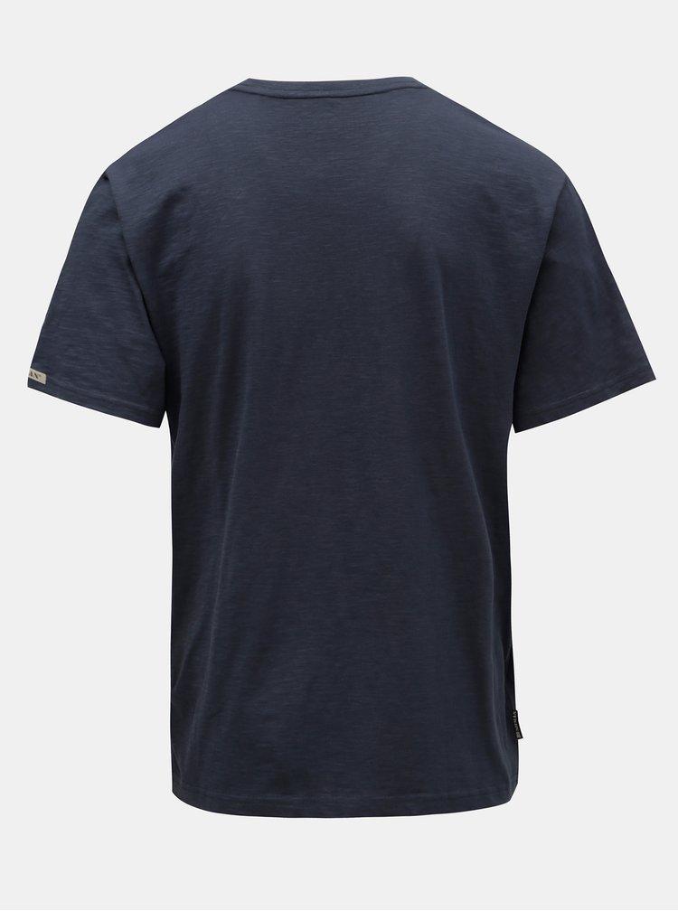 Tricou barbatesc albastru inchis cu imprimeu BUSHMAN Croff