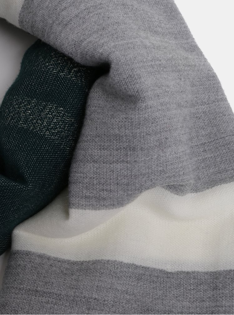 Zeleno-šedá pruhovaná šála Pieces Maria