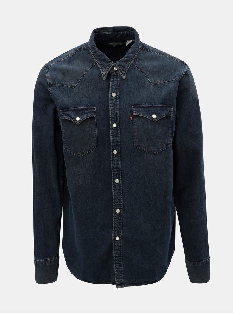 Camasa albastru inchis din denim cu buzunare la piept Levi's® Barstow Western