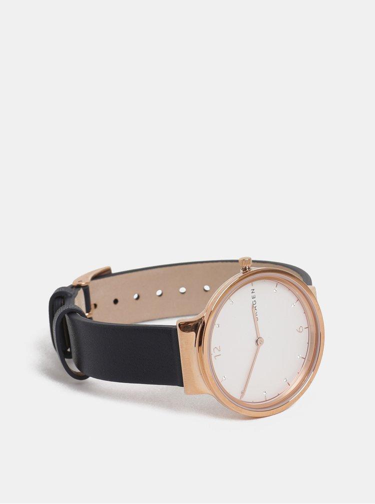 Dámske hodinky s čiernym koženým remienkom Skagen