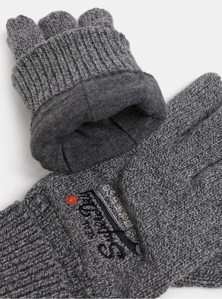 Šedé pánské žíhané rukavice s výšivkou Superdry