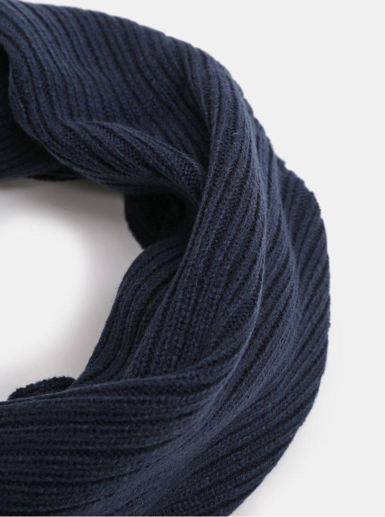 Fular circular albastru inchis impletit Jack & Jones Tube