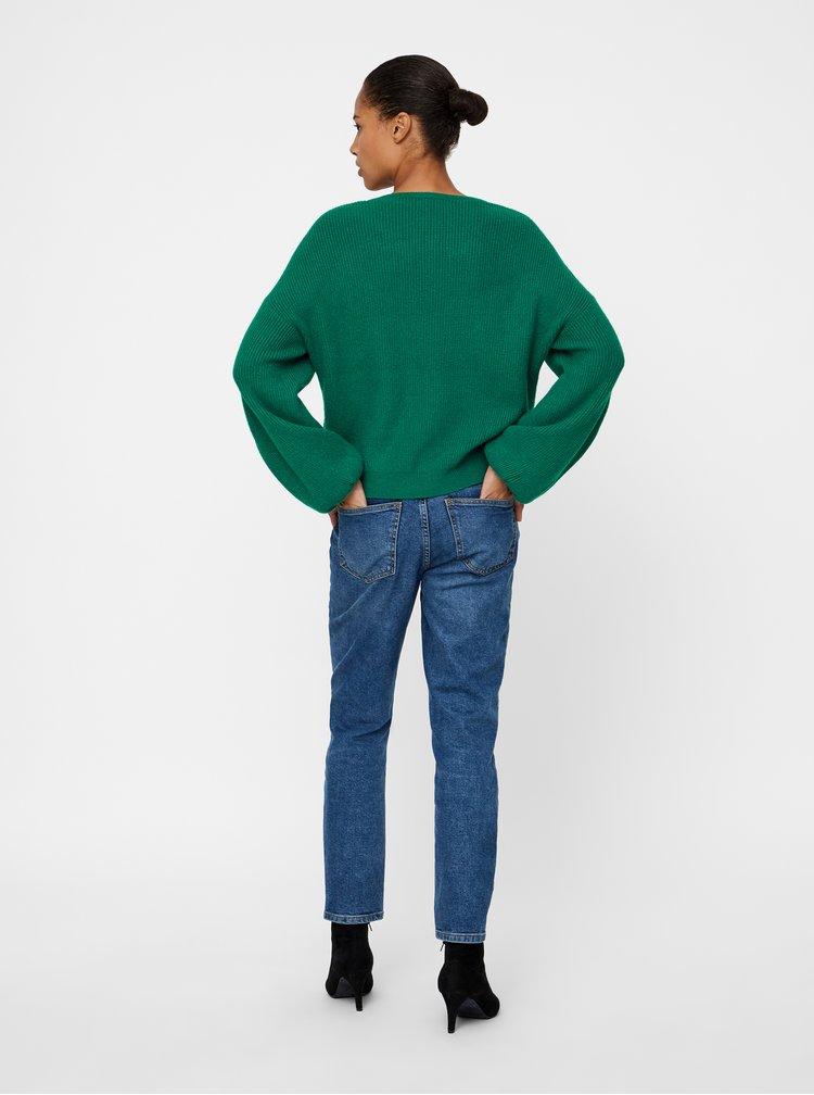 Tmavě zelený pletený svetr s balónovými rukávy VERO MODA Diva