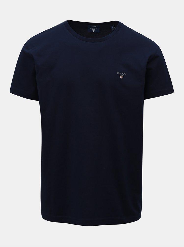 Tmavě modré pánské regular basic tričko GANT Pigue