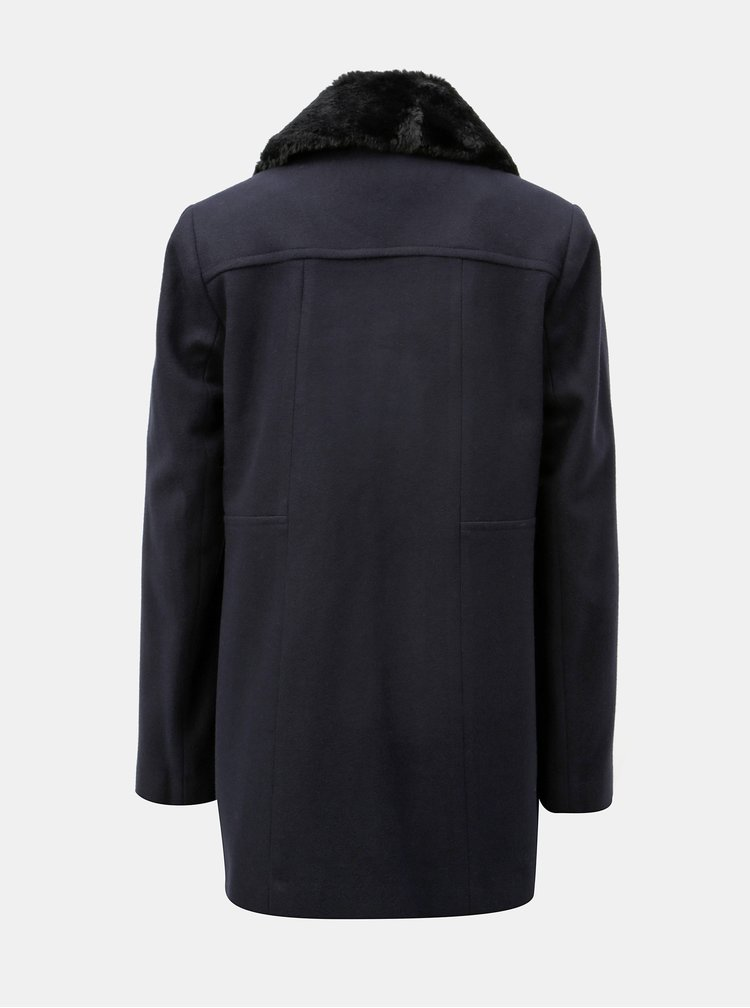 Tmavě modrý kabát s kožíškem Dorothy Perkins
