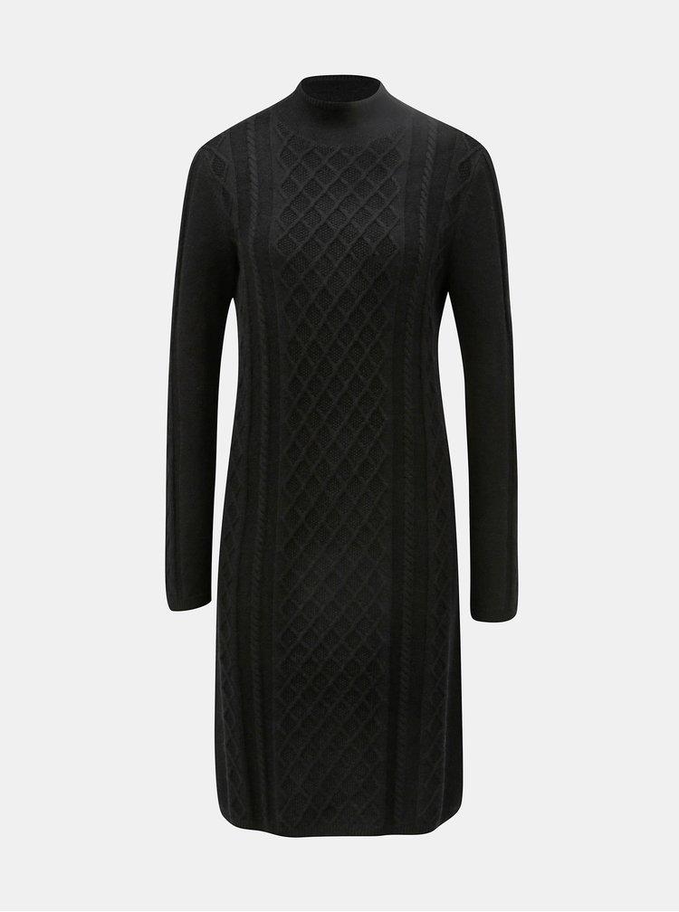 Černé svetrové šaty se stojáčkem Yest