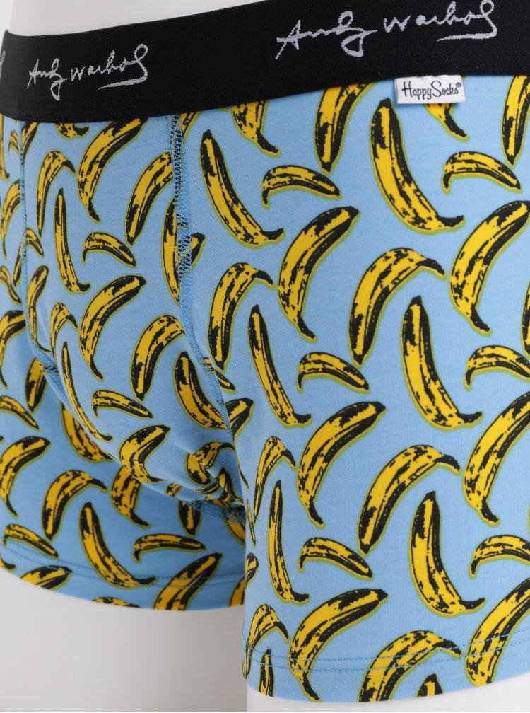 Modré boxerky s motivem banánů Happy Socks Andy Warhol
