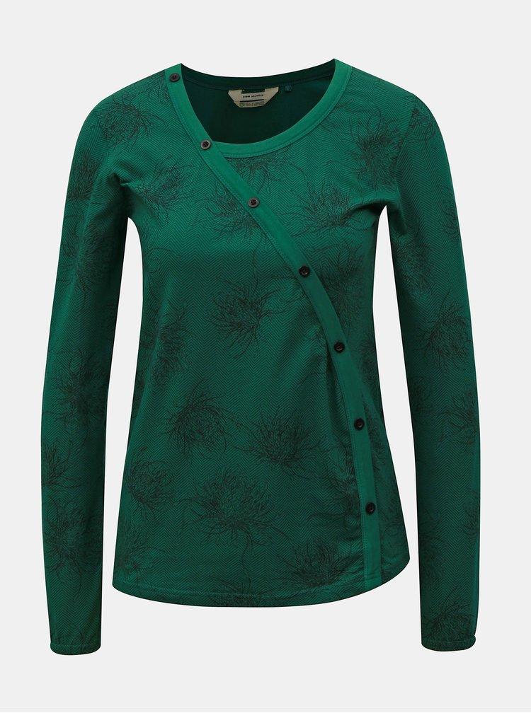 Zelené vzorované tričko s dlouhým rukávem SKFK