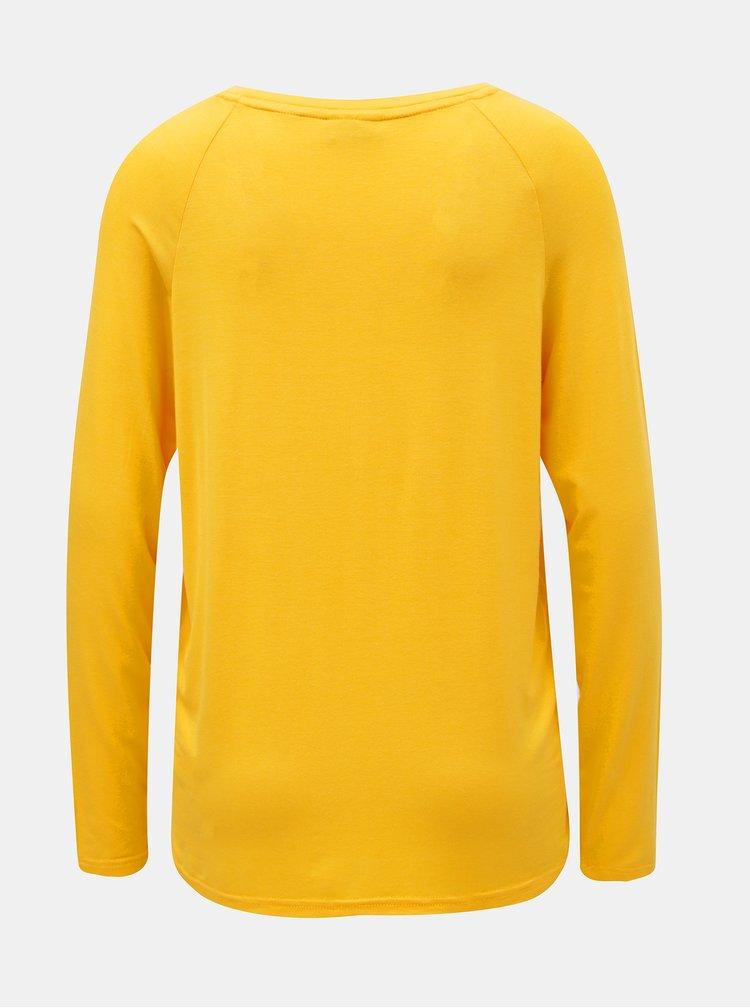 Žluté volné basic tričko s dlouhým rukávem Noisy May Harry