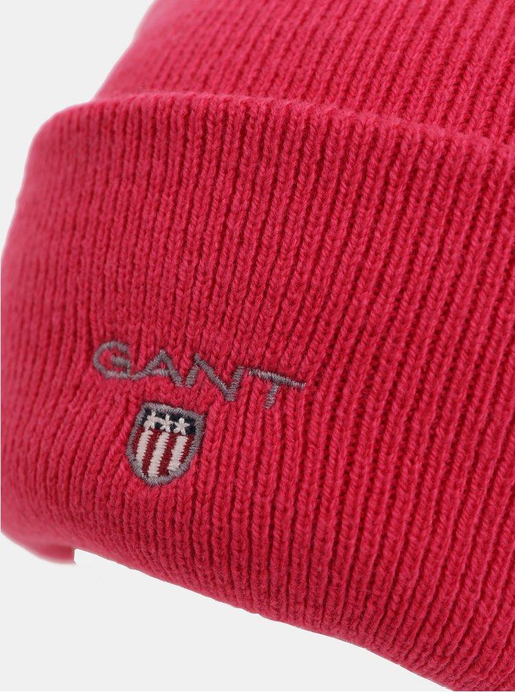 Růžová dámská čepice s vyšitým logem GANT Logo Knit