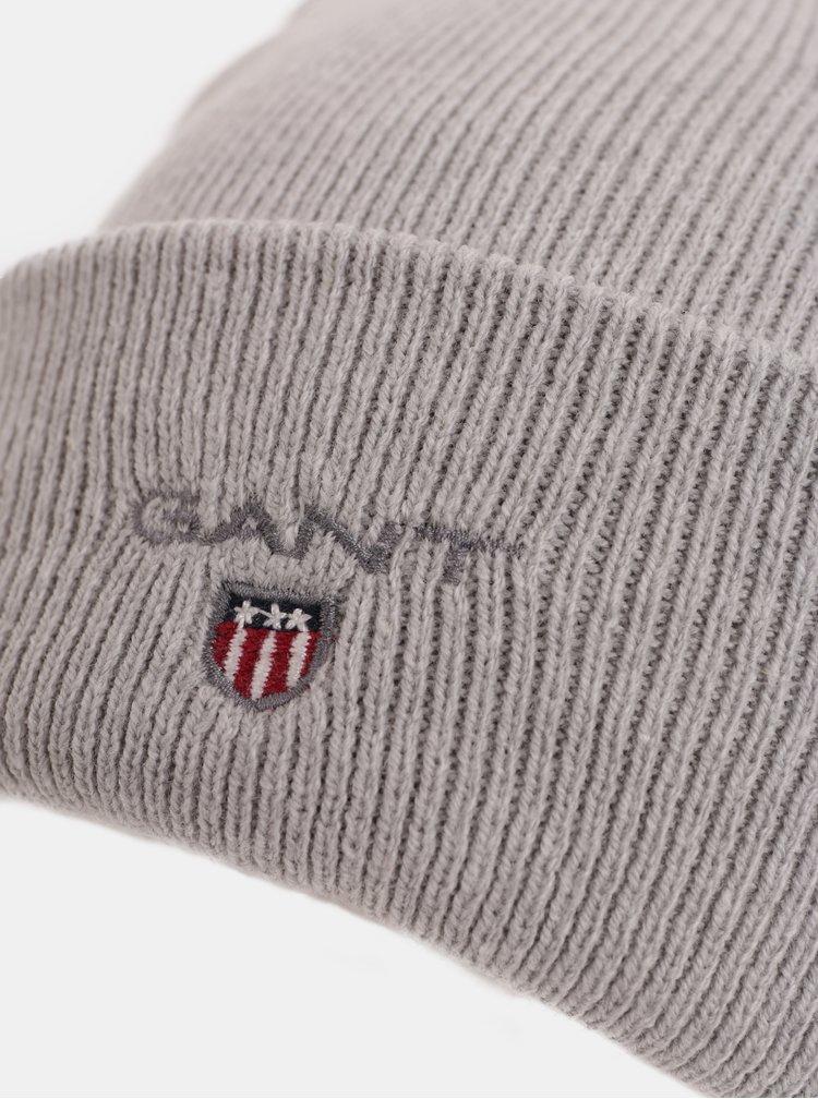 Svetlosivá unisex čiapka s vyšitým logom GANT Logo Hat