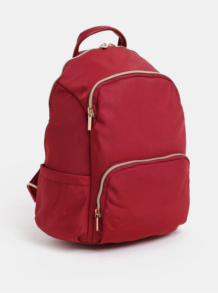 Červený batoh se zipy ve zlaté barvě ZOOT