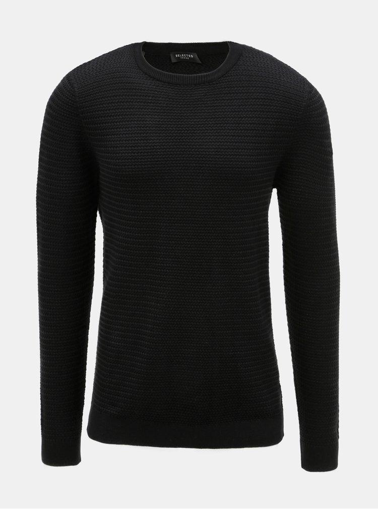 Čierny vzorovaný sveter Selected Homme