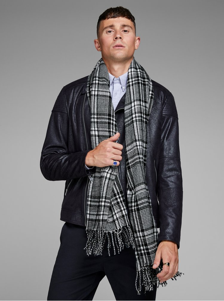 Fular alb-negru tartan Jack & Jones Checked