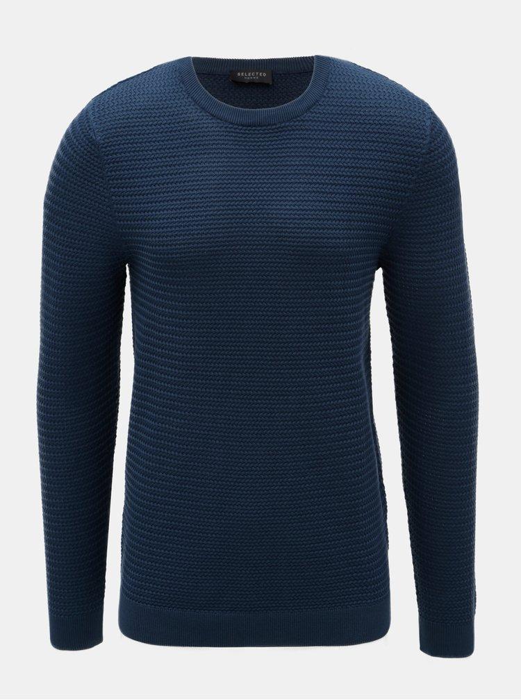 Tmavomodrý vzorovaný sveter Selected Homme