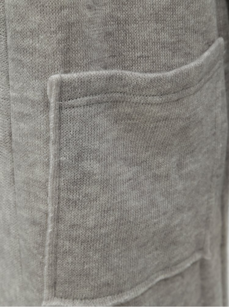 Světle šedý žíhaný kardigan s rozparkem VERO MODA Ylda