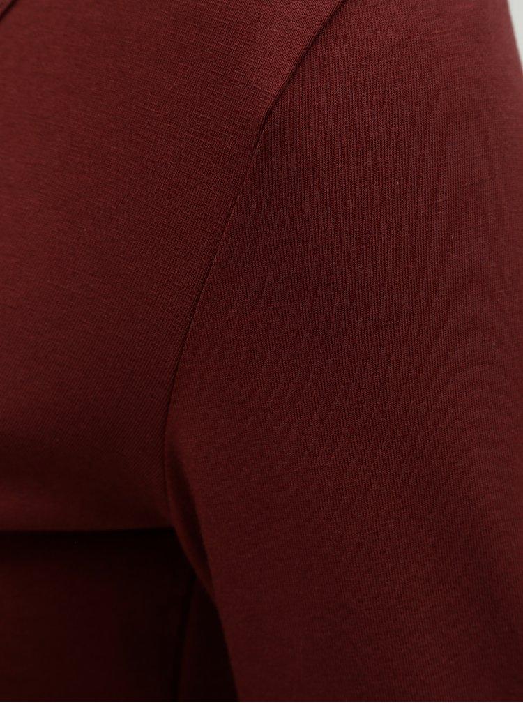Vínové basic tričko s dlouhým rukávem Yest