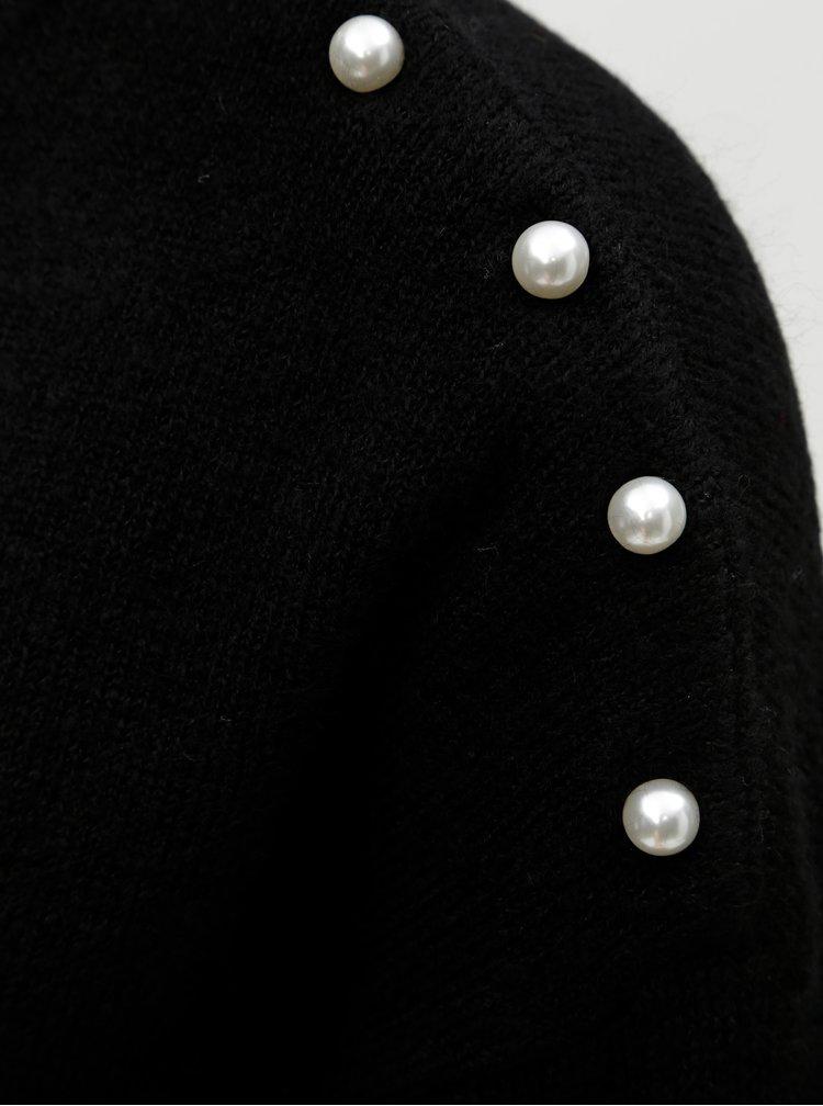 Černý svetr s knoflíky ve tvaru perel VERO MODA Lagoura