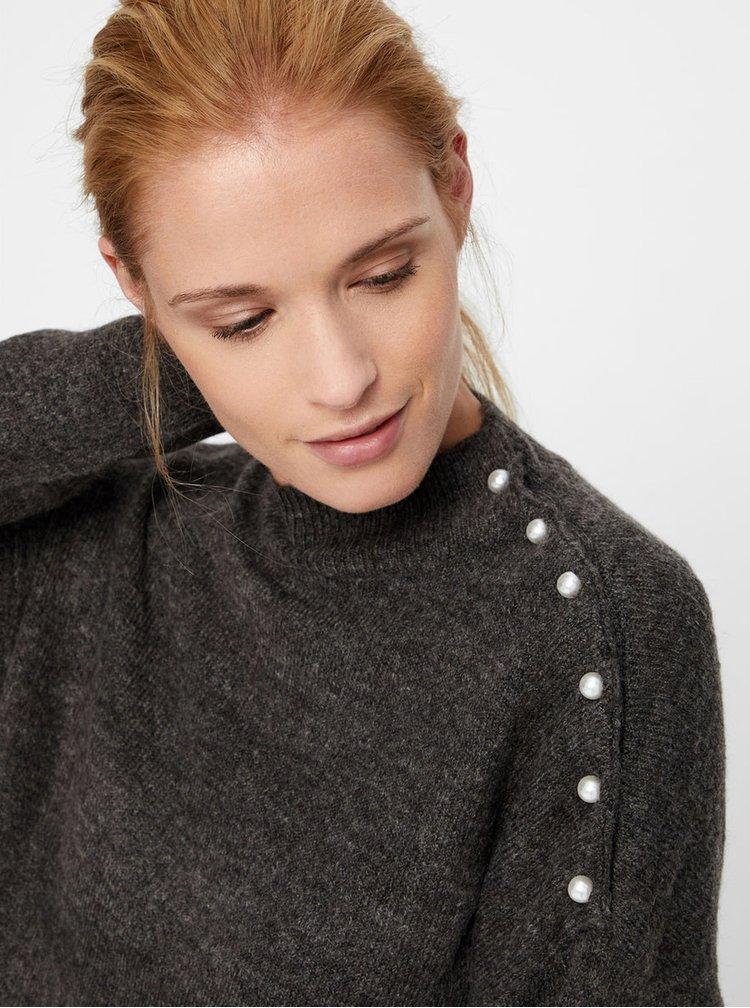 Tmavě šedý žíhaný svetr s knoflíky ve tvaru perel VERO MODA Lagoura