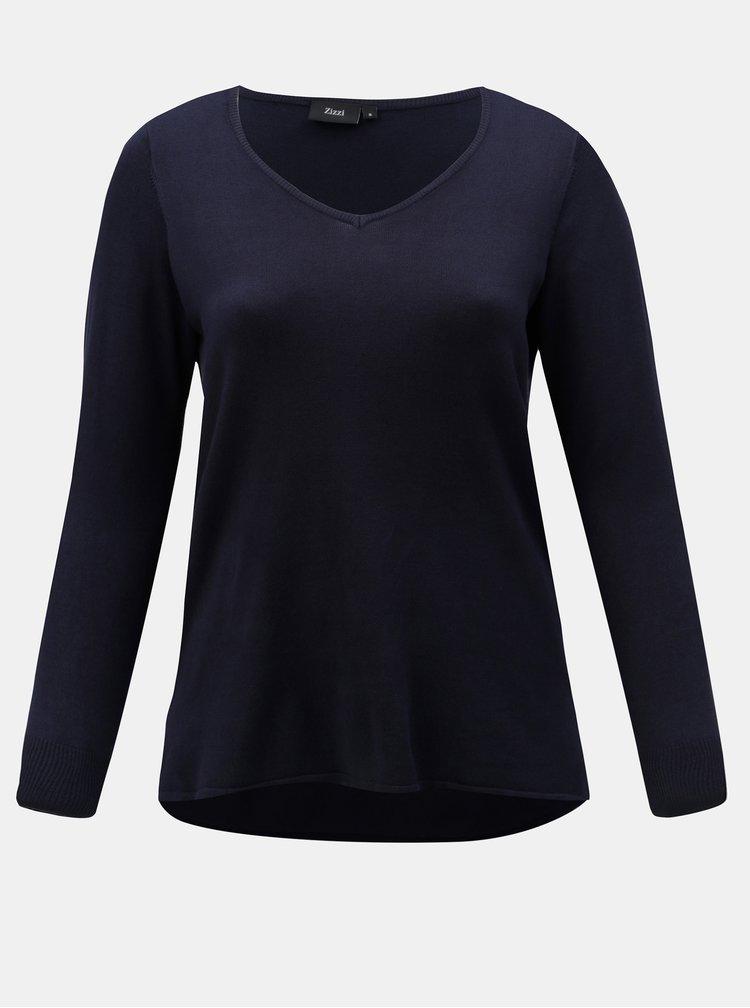 Tmavě modrý lehký svetr s prodlouženým zadním dílem Zizzi Cilla