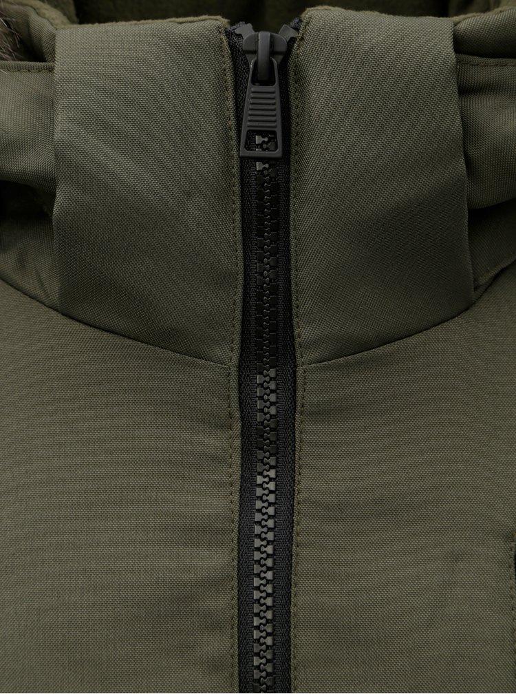 Khaki zimní bunda s umělým kožíškem ONLY & SONS