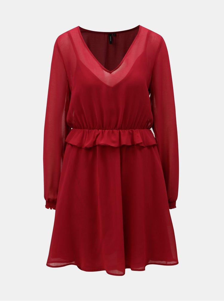 Vínové šaty s volánem a gumou v pase VERO MODA Becca
