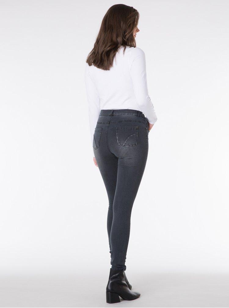Tmavě šedé slim džíny s vyšisovaným efektem Yest
