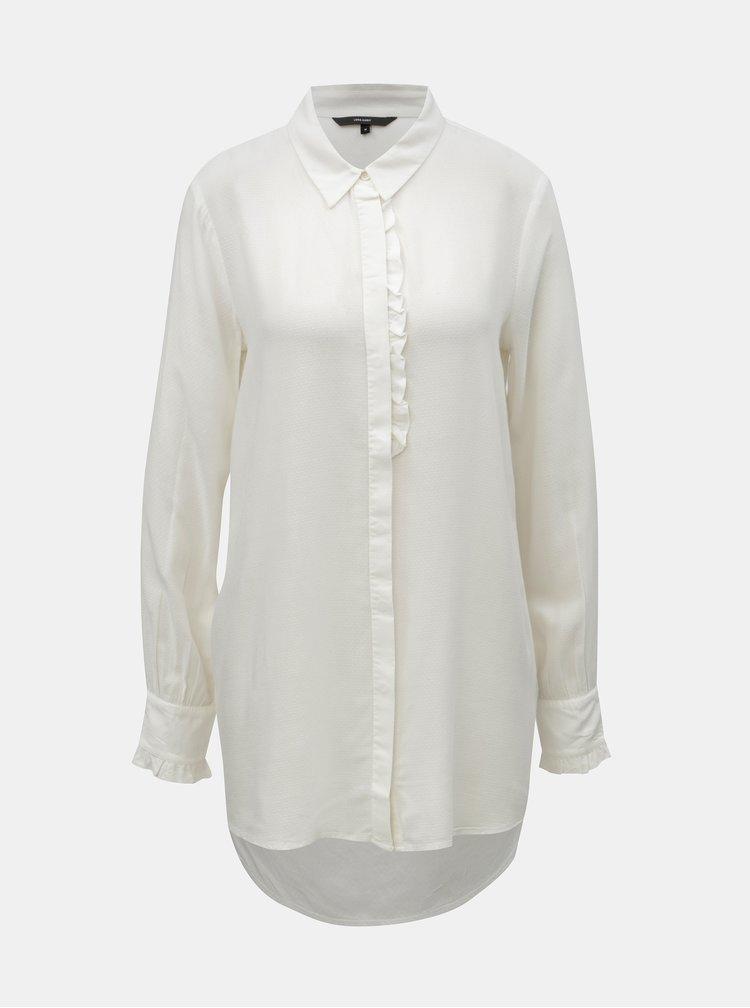 Krémová košeľa s predĺženou zadnou časťou VERO MODA Astrid