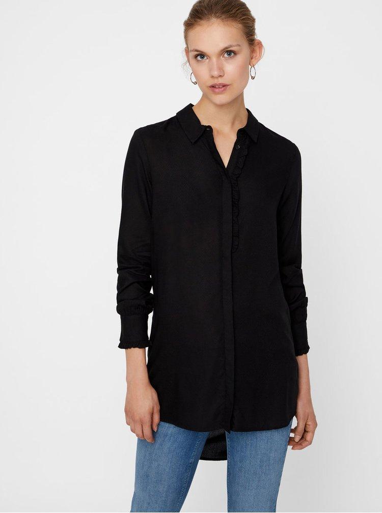 Černá košile s prodlouženou zadní částí VERO MODA Astrid