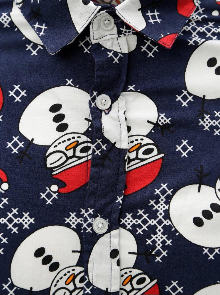 Camasa albastru inchis slim fit cu motiv oameni de zapada ONLY & SONS Funny Christmas