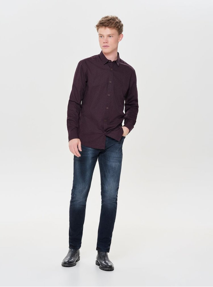 Camasa bordo florala slim fit ONLY & SONS Mexit