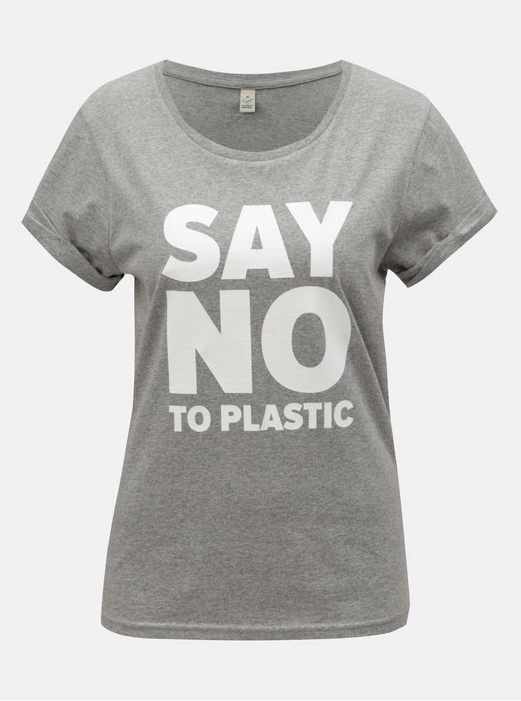 Šedé dámské žíhané tričko s potiskem ZOOT Original Say no to plastic
